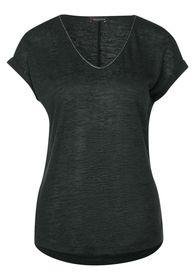 T-Shirt in Leinen-Optik