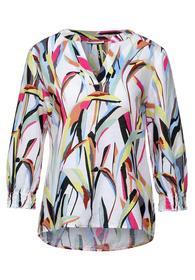 Printed linen splitneck blouse
