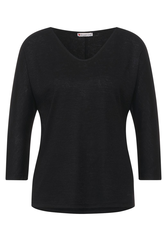 QR linen look v-neck shirt
