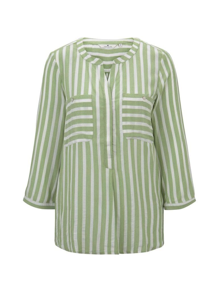 blouse striped - 21394/green white vertical stri