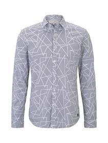 geometric print stretch shirt