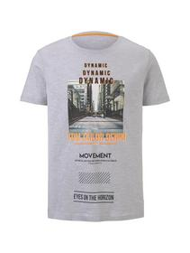fotoprint on striped Tee - 22165/grey yarn dye str
