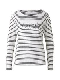 T-shirt stripe boat neck