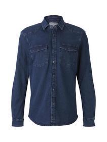 stretch denim shirt - 10282/dark stone wash denim