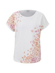 T-shirt slub placed print - 10315/Whisper White