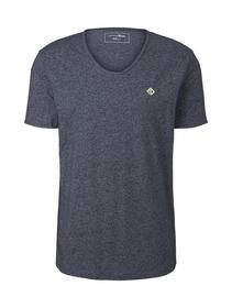 structured v-neck T-shirt - 13684/Sky Captain Blue