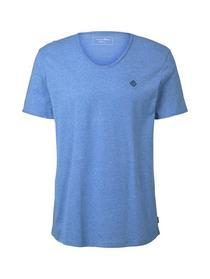 structured v-neck T-shirt - 19065/water sport blue
