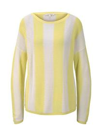 open knitted pullover - 22572/yellow white vertica