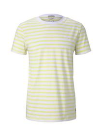 striped T-shirt w. embroidery - 23329/canary light