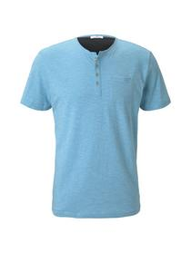 henley t-shirt with pocket - 22919/teal fine strip