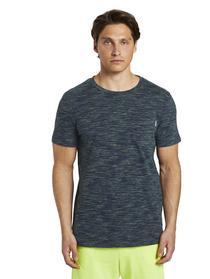 structured T-shirt - 23658/navy multi slub yd stri