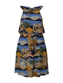 neckhalter mini dress, tropical safari print blue