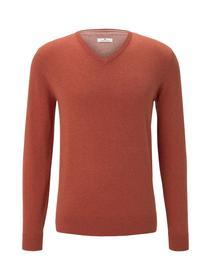 basic v neck sweater - 24247/heated orange melange