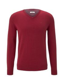 basic v neck sweater - 24249/spicy red melange