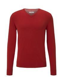 basic v neck sweater - 20013/blood orange