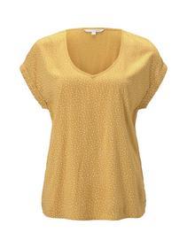 printed sporty blouse - 24322/yellow white dot