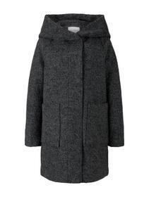 boucle wool coat with hood