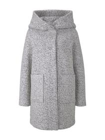boucle wool coat with hood