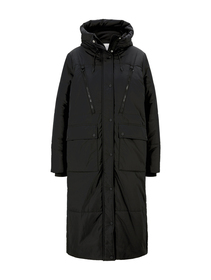padded long coat, Deep Black