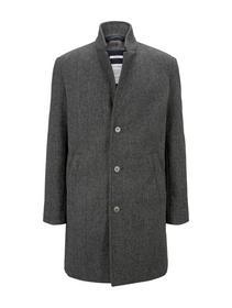 modern woolcoat, grey melange twill