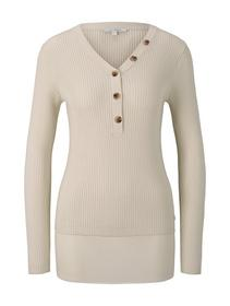 knit henley with buttons, soft creme beige