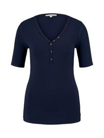 ribbed multicolor henley - 10360/Real Navy Blue