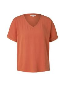 fabric mix tee, burnt coral