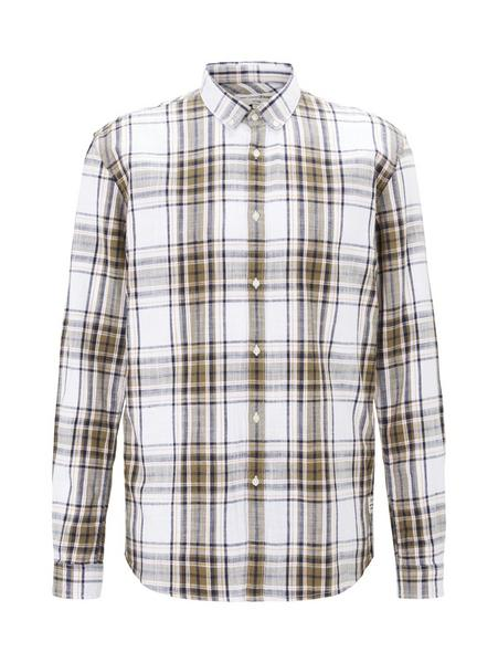 authentic check shirt, white olive check