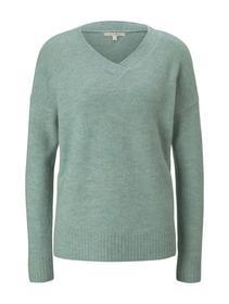 cosy v-neck pullover, mineral stone blue melange