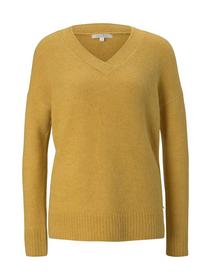cosy v-neck pullover, indian spice yellow melange