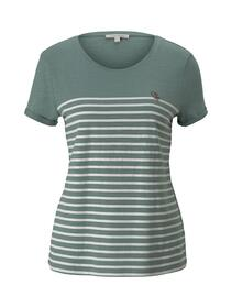 stripe tee with embro, Mineral Stone Blue