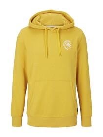 Hoody w. chest print, star shine yellow