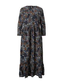 printed midi dress, navy flower print