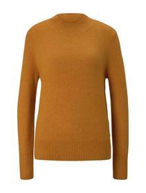 cozy mock neck pullover, orange yellow melange