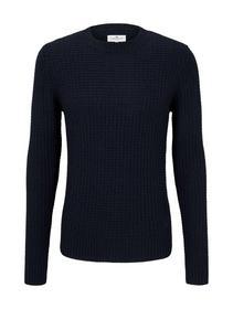 structured crew neck sweater - 10668/Sky Captain B