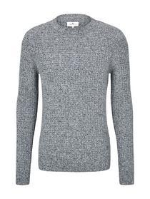 structured crew neck sweater - 12035/Grey Heather