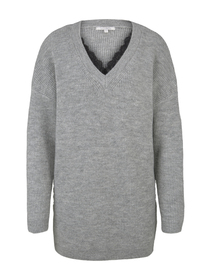 long lace pullover, Light Silver Grey Mélange