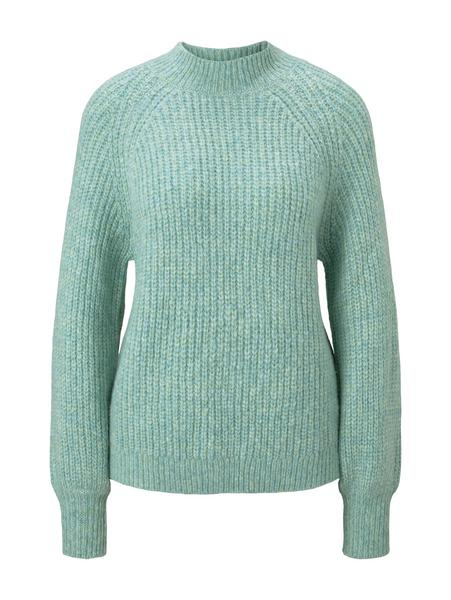 chunky mock neck pullover, mineral stone blue melange
