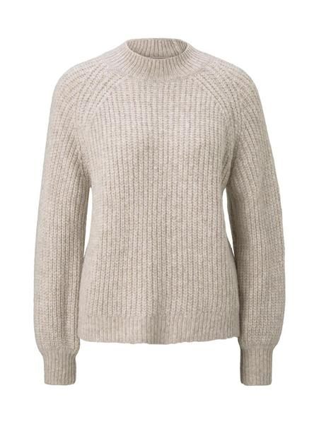chunky mock neck pullover, cozy beige melange