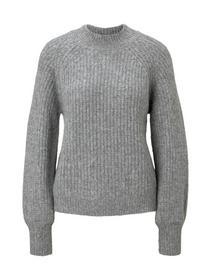chunky mock neck pullover, Light Silver Grey Mélange
