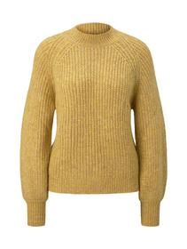 chunky mock neck pullover, indian spice yellow melange