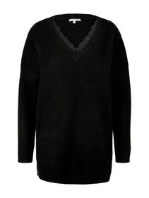 long lace pullover, Deep Black