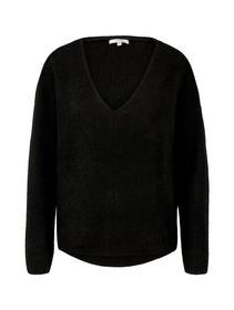 structured v-neck pullover, Deep Black