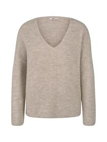 structured v-neck pullover, cozy beige melange