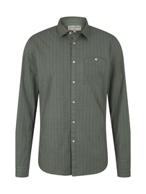 allover printed stretch shirt - 25410/green grid t