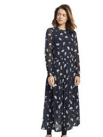 midi mesh dress, navy flower alloverprint