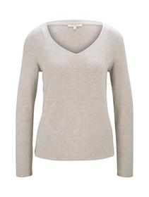 cosy brushed v-neck, cozy beige melange