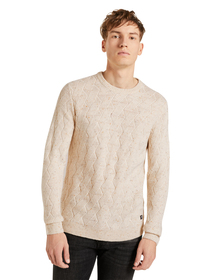 nep yarn cable crewneck - 24909/offwhite nep non s