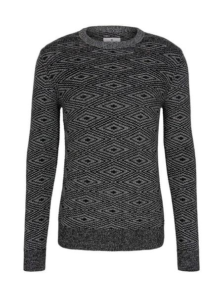 jacquard sweater, black white grey mouline