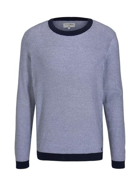 structured crewneck - 25479/navy white arc design